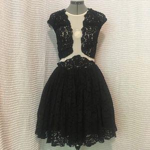 ASOS Black Lace Sheer Formal Short Dress Tulle